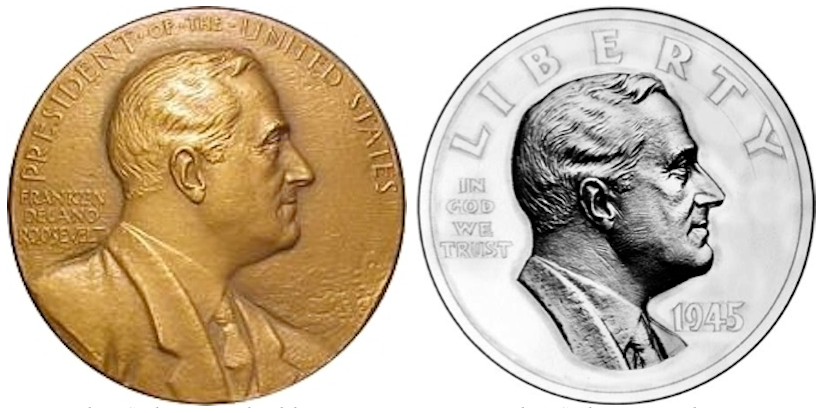 Based On These Observations It Seems Quite Clear To Me That Sinnock Did Not Copy From Burkes Bas Relief For His Profile Of Fdr On The Dime