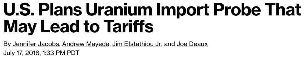 Bloomberg Uranium Headline