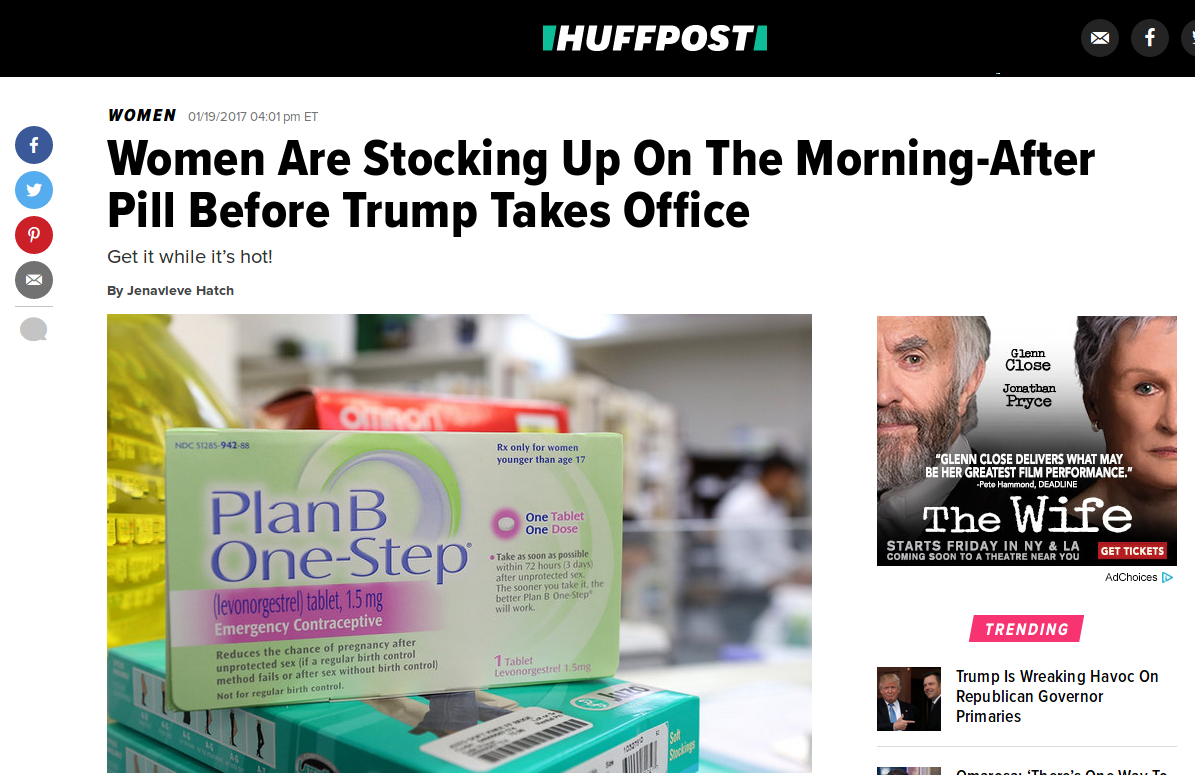 Women Are Stocking Up on the Morning-After Pill Before Trump Takes Office