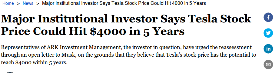 Major Institutional Investor Says Tesla Stock Price Could Hit $4000 in 5 Years
