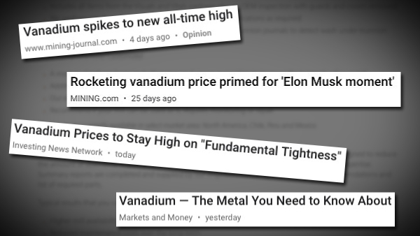 Vanadium Headlines