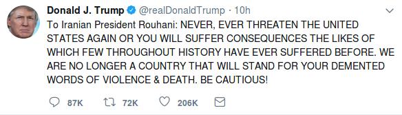 Trump Iran Tweet Threat