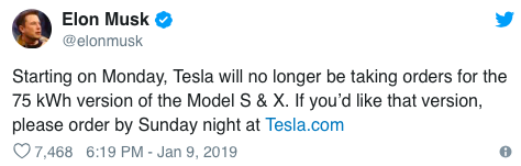 Starting on monday Tesla will no longer be taking orders for the 75 kWh version of the Model S and X. If you'd like that version, please order by Sunday night at Tesla.com