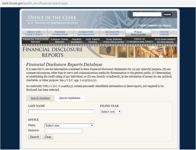 financial disclosure reports