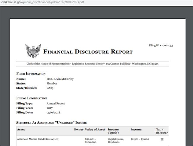 McCarthy Disclosure Report