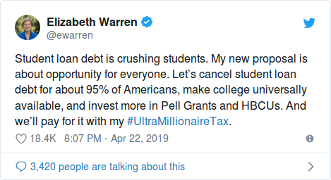Student loan debt is crushing students. My new proposal is about opportunity for everyone. Let's cancel student loan debt for about 95% of Americans, make college universally available, and invest more in Pell Grants and HBCUs. And we'll pay for it with my #UltraMillionaireTax