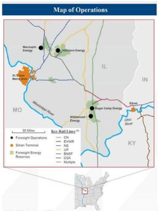 map of coal operations