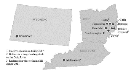 ohio and whyoming coal mines