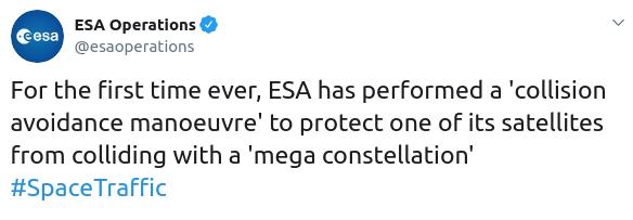 ESA Collision Tweet