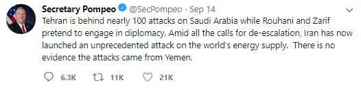 Tehran is behind nearly 100 attacks on Saudi Arabia while Rouhani and Zarif pretend to engage in diplomacy. Amid all the calls for de-escalation, Iran has now launched an unprecedented attack on the world's energy supply. There is no evidence the attacks came from Yemen.