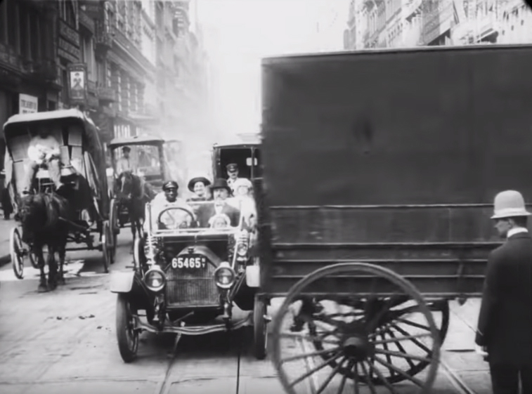 Horses and Cars New York City 1911