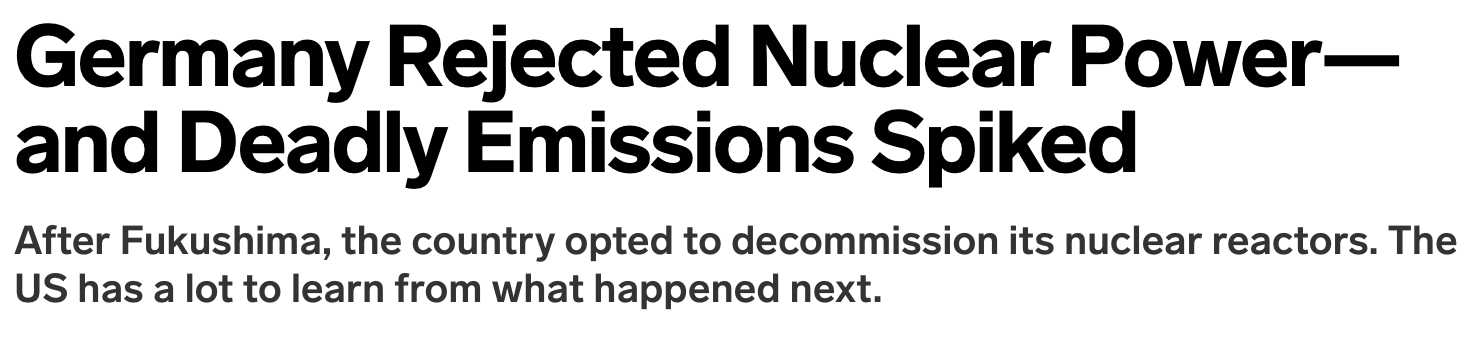 Germany Killed People by Abandoning Nuclear