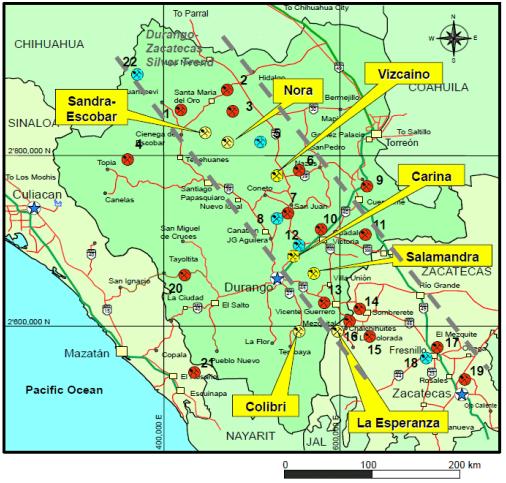 Durango Mexico Mines Map