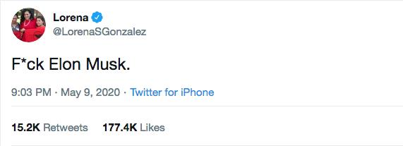 Lorena Gonzalez Tweet to Elon Musk