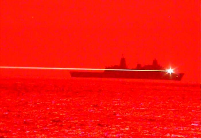 USS Portland Laser Test
