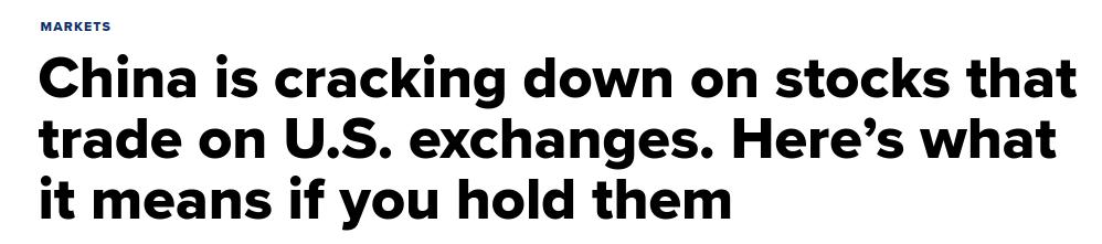 China Tech Crackdown CNBC Headline